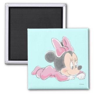 Pijamas rosados de Minnie Mouse el | del bebé Imán Cuadrado