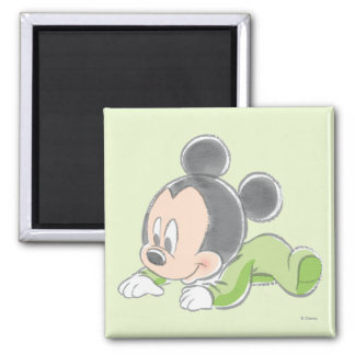 Pijamas verdes de Mickey el | del bebé Imán Cuadrado