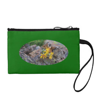 pika carrying wildflowers coin wallet