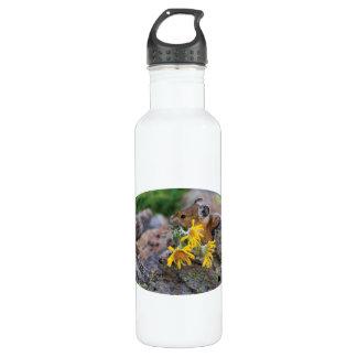 pika carrying wildflowers 24oz water bottle