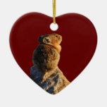 pika de la puesta del sol adorno navideño de cerámica en forma de corazón