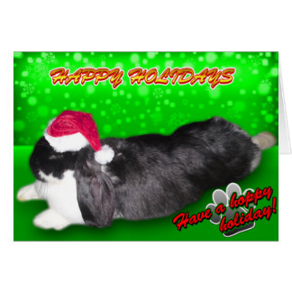 Pika Holiday Santa Hat - Rabbit Bunny Card