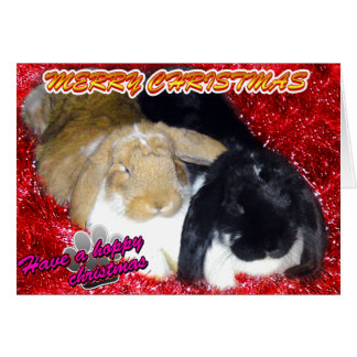 Pika & Ollie Tinsel Xmas - Rabbit Bunny Christmas Greeting Card