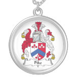 Pike Family Crest Round Pendant Necklace
