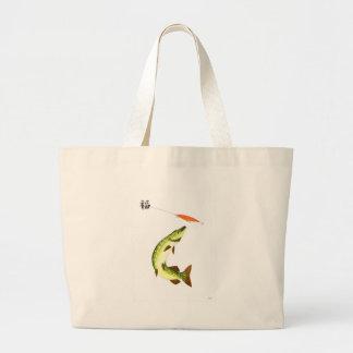 Pike fishing large tote bag