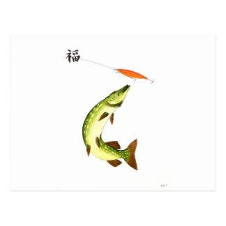 Pike fishing postcard