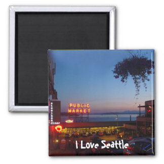 Pike Place Market 2 Inch Square Magnet