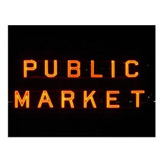 Pike Place Market at night Postcard