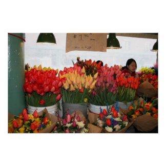 Pike Place Market - Flowers for Sale - Seattle, WA Poster