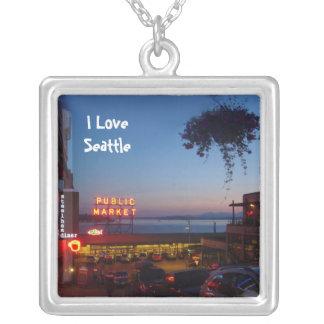 Pike Place Market Square Pendant Necklace