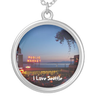 Pike Place Market Round Pendant Necklace
