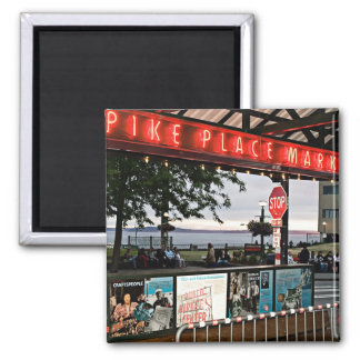 pike place market Seattle 2 Inch Square Magnet