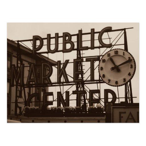 Pike Place Market, Seattle postcard, vintage style