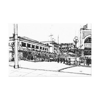 Pike Place Market, Seattle. Sketch Canvas Print
