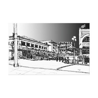 Pike Place Market, Seattle. Storm Sky. Canvas Print