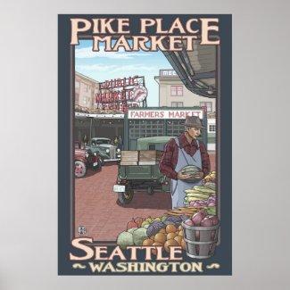 Pike Place Market - Seattle, WA Travel Poster print