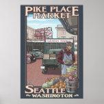 Pike Place Market - Seattle, WA Travel Poster
