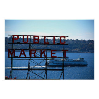 Pike Place Market & Seattle Waterfront Poster