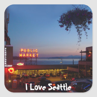Pike Place Market Square Sticker