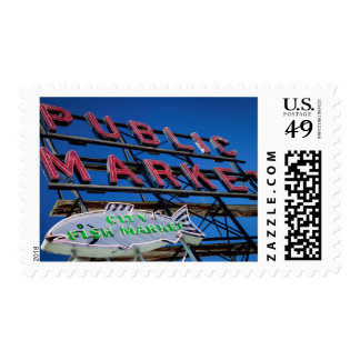 Pike Place Public Market Sign Postage Stamps