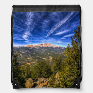 Pikes Peak and Blue Sky Drawstring Backpack
