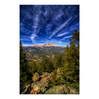 Pikes Peak and Blue Sky Poster