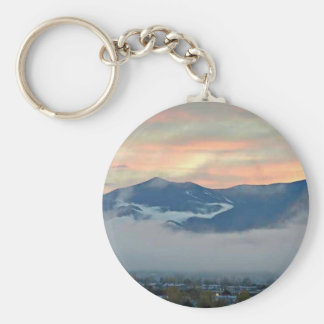 Pikes Peak at sunset with fog bank Basic Round Button Keychain