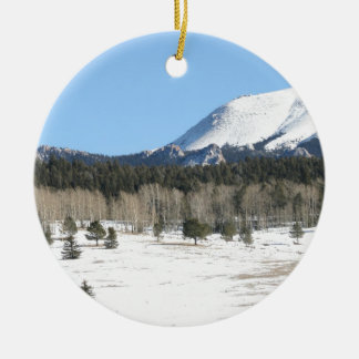 Pikes Peak Colorado Mountain Winter Snow Ceramic Ornament