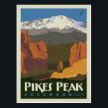 "Pikes Peak, Colorado Postcard<br><div class=""desc"">Anderson Design Group is an award-winning illustration and design firm in Nashville,  Tennessee. Founder Joel Anderson directs a team of talented artists to create original poster art that looks like classic vintage advertising prints from the 1920s to the 1960s.</div>"