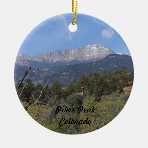 Pikes Peak In Colorado Springs: Pikes Peak- Colorado Springs Ceramic Ornament