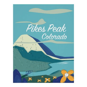 USA Themed Pikes Peak Colorado vintage style travel poster