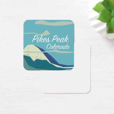 USA Themed Pikes Peak Colorado vintage style travel poster Square Business Card