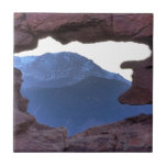 Pikes Peak Framed by Sandstone Hole Ceramic Tile