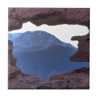 Pikes Peak Framed by Sandstone Hole Tile