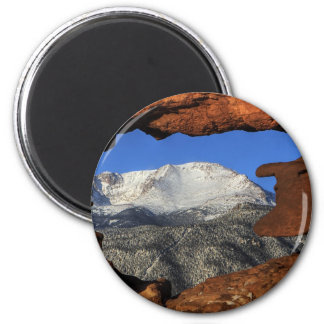 Pikes Peak seen through keyhole rock formation Magnet