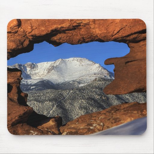 Pikes Peak seen through keyhole rock formation Mouse Pad