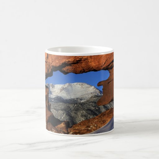 Pikes Peak seen through keyhole rock formation Coffee Mug