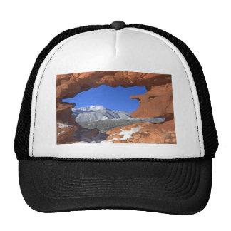 Pikes Peak through Sandstone Hole 01 Trucker Hat