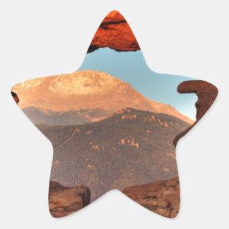 Pikes Peak through Sandstone Hole 02 Star Sticker