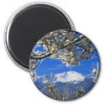 Pikes Peak Winter Snow Covered Fractal Art 2 Inch Round Magnet