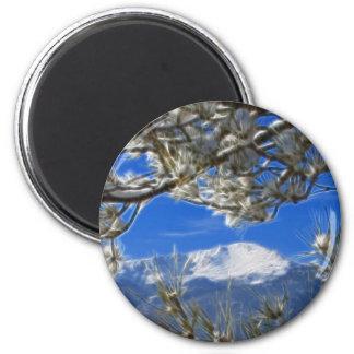 Pikes Peak Winter Snow Covered Fractal Art Refrigerator Magnet
