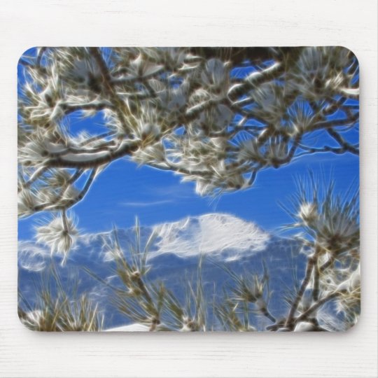 Pikes Peak Winter Snow Covered Fractal Art Mouse Pad