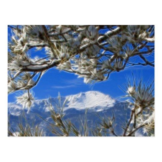 Pikes Peak Winter Snow Covered Fractal Art Postcard