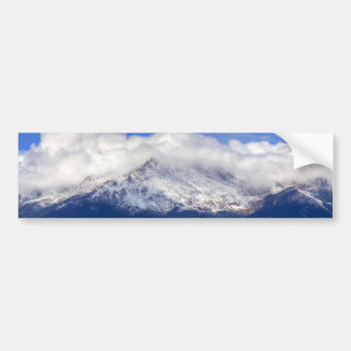 Pikes Peak with Fresh Snowfall and Clouds Bumper Sticker