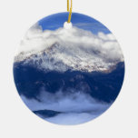 Pikes Peak with Fresh Snowfall and Clouds Ceramic Ornament