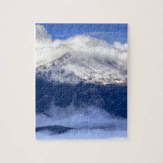 Pikes Peak with Fresh Snowfall and Clouds Jigsaw Puzzle