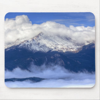 Pikes Peak with Fresh Snowfall and Clouds Mouse Pad