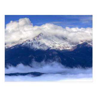 Pikes Peak with Fresh Snowfall and Clouds Postcard