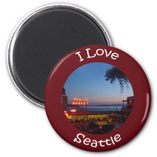 Pikes Place Market 2 Inch Round Magnet