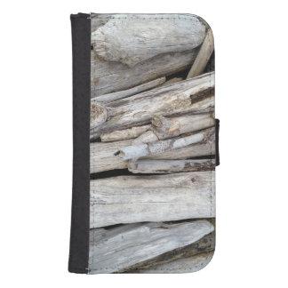 Pila con playas costera rústica del Driftwood Cartera Para Teléfono